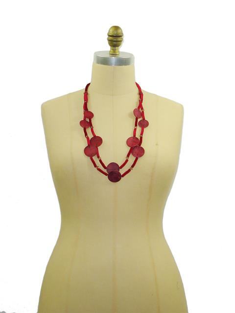 Red Button Necklace#