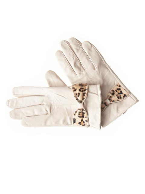 Leopard Hide Bow Leather Gloves